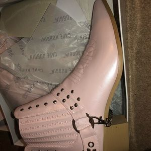 Pink metallic cowboy boot
